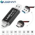 Leizhan usb 3.0 tipo c 3.1 pendrive 64 gb metal usb flash drive 64 gb personalizado pen drive flash de memoria usb para teléfonos micro usb tipo c