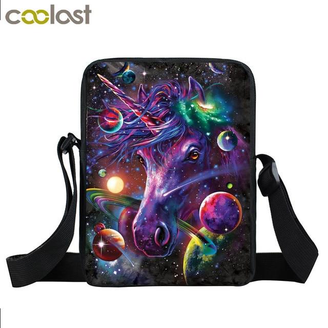 6cd987c92c Fantasy Animal Colorful Unicorn Mini Messenger Bag Angel Cat Girls Bookbag  Boys School Bags Kids Book