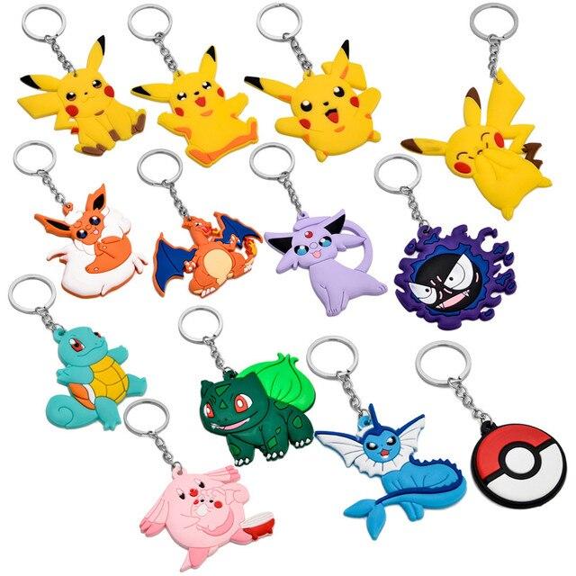 13 estilo Ir Chaveiro Charmander Squirtle Pokemon Pikachu Silicone Encantos Keyring Chave Titular Chaveiro Fãs de Presente Brinquedos Para Crianças