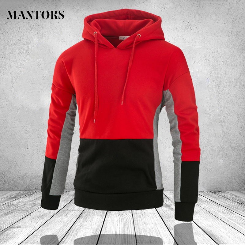 Hoodie Jackets Outwear Sweatshirt Male Harajuku Winter Mens Pullovers Slim-Fit Patchwork