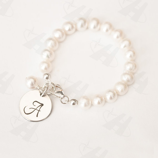 Silver Plated Monogram Initial Disc Charm Bracelet Fashion Elastic Pearl Bead Bracelets For Women Bridesmaid Jewelry In Bangles From