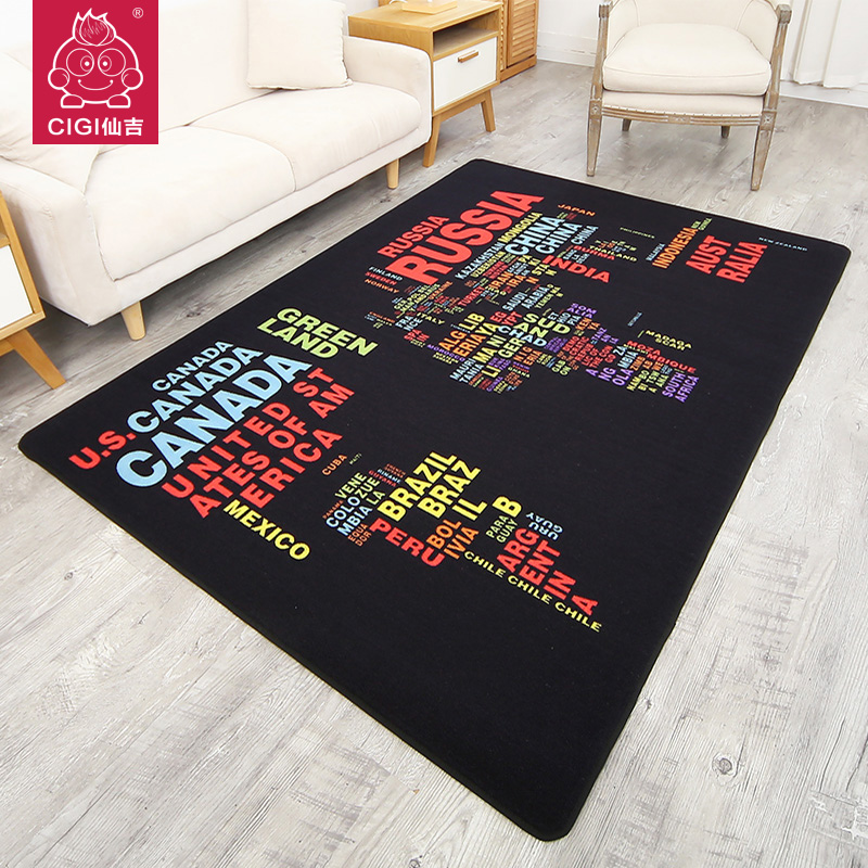 Attractive CIGI Creative Carpet Colorful Letters Pattern Carpet Nylon Rug Rectangular  Anti Skid Floor Mat 100*