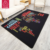 CIGI Creative Carpet Colorful Letters Pattern Carpet Nylon Rug Rectangular Anti Skid Floor Mat 100 160