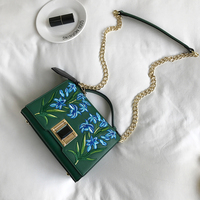 Small Messenger Bag For Women Embroidery Flower Chains Bag Shoulder Bags Green Color 2017 New