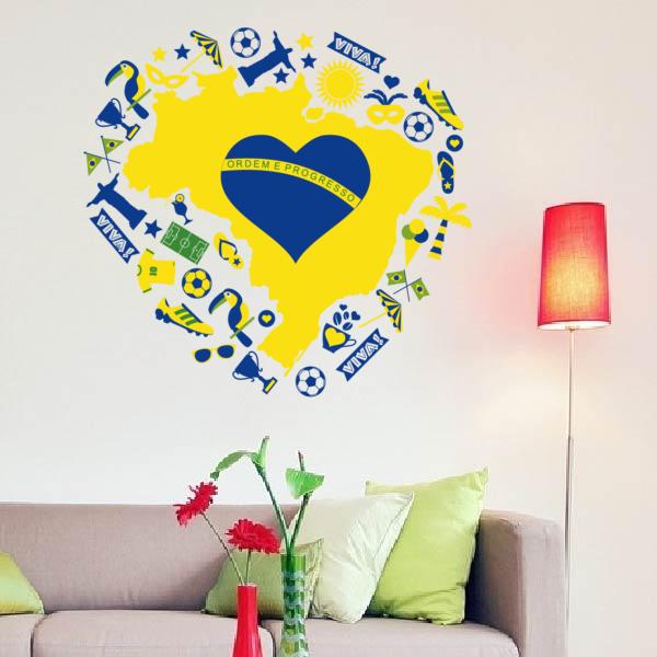 Heart shaped Brazil Brasil Vinyl Wall Sticker Fashionable Wedding ...