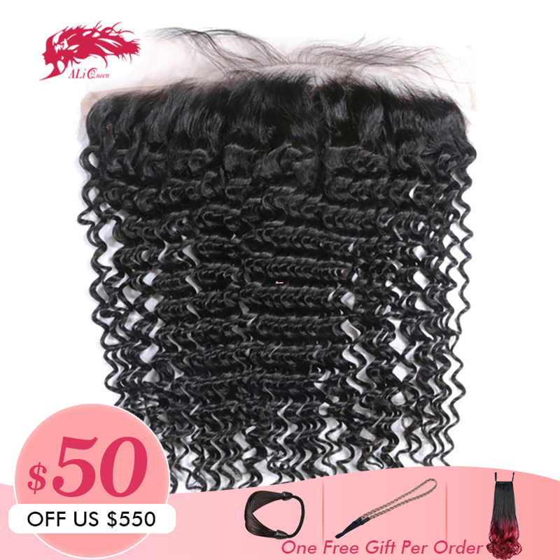 Ali Queen Hair Products Deep Wave Virgin Brazilian Hair Natural Color 10 to 20 13x4 Lace