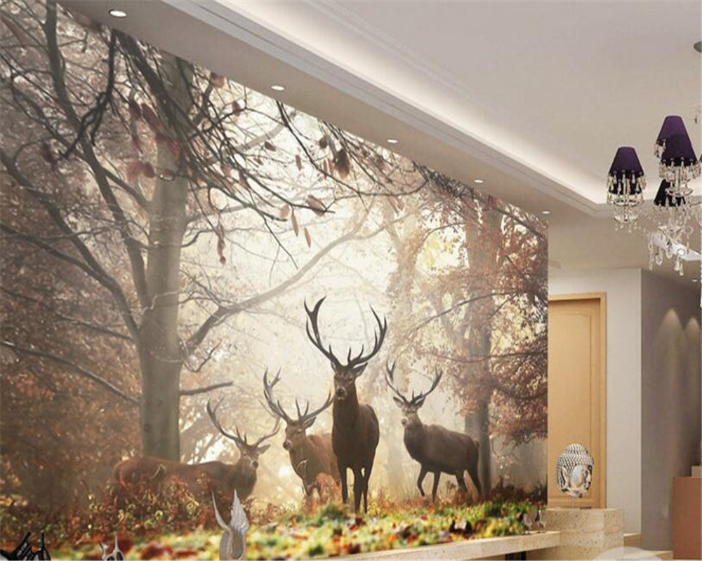 Beibehang Wallpaper For Walls 3 D Retro Nostalgic Style Forest Deer Mural TV Wall 3d Wallpaper Papel De Parede Papier Peint