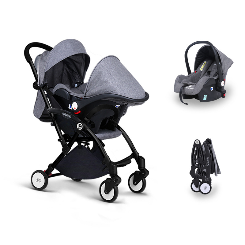 Babyruler Baby Stroller 3 in 1 Ultra-lightweight Folding Baby Trolley High Landscope Carriage European Pram bair lightweight baby stroller high position pram trolley