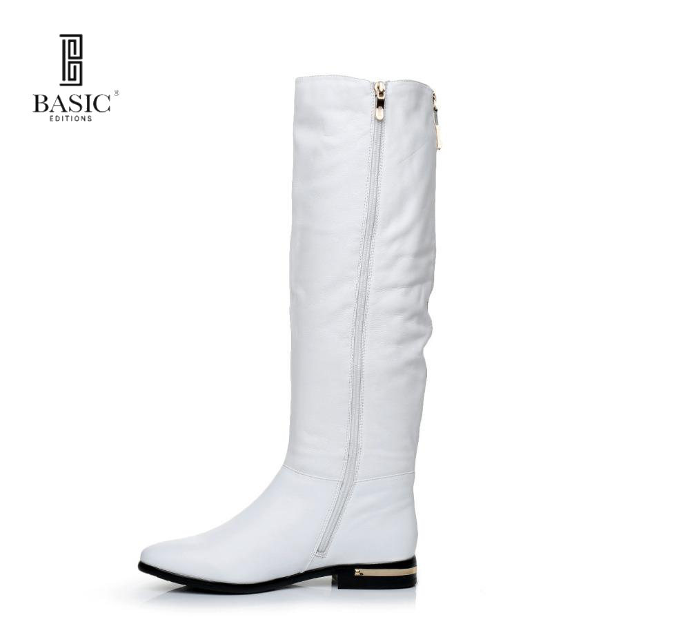 BASIC 2016 Winter White Genuine Leather Round Toe Low Heel Zip Up Fashion Boots - 4716B-07-CME pyramida basic casa 50k white