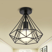 iron minimalist retro ceiling lamp Scandinavian loft pyramid lamp metal cage with led bulb|retro ceiling lamp|ceiling lamp|iron ceiling lamp -