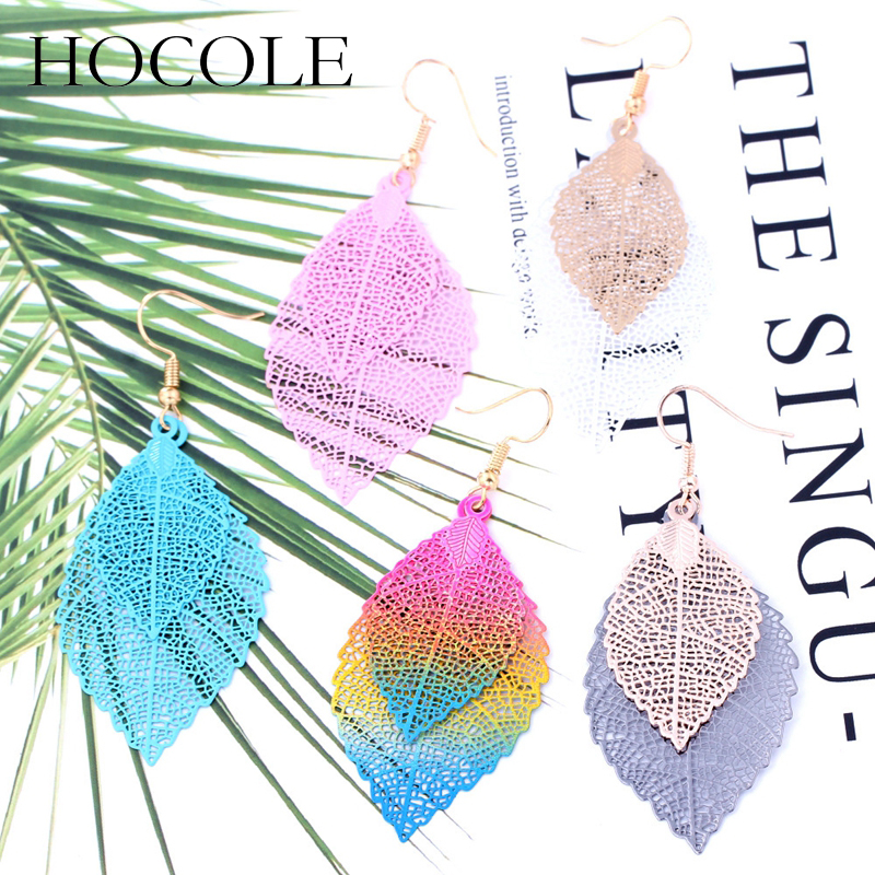 HOCOLE Bohemia Double Leaf Drop Earrings For Women Vintage Hollow Out Multi-color Pendant Long Dangle Earrings Wedding Jewelry