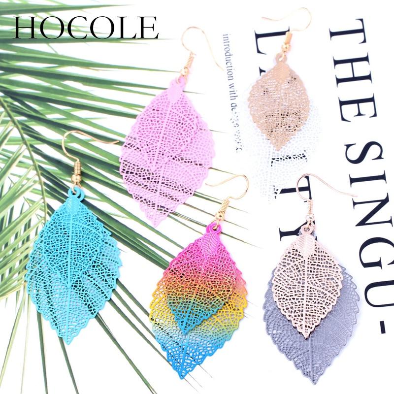 HOCOLE Bohemia Double Leaf Drop Earrings For Women Vintage Hollow Out Multi-color Pendant Long Dangle Earrings Wedding Jewelry