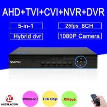 Bule-Ray Case HI3521A 25fps 8 Channel 8CH 1080P Surveillance Camera 1080N Coaxial Hybrid NVR TVI CVI AHD CCTV DVR Free Shipping