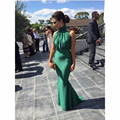 Emerald Green Mermaid Long Cheap Prom Dresses New Arrival Elegant Sexy High Neck Backless Women Formal Dresses For Wedding Guest