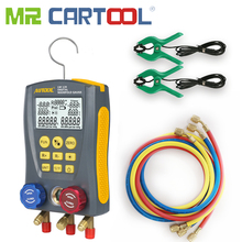 El Sr. Cartool Refrigerantion colector Digital medidor Indicador de vacío HVAC de presión y temperatura de Kit con Clip de prueba y tubería