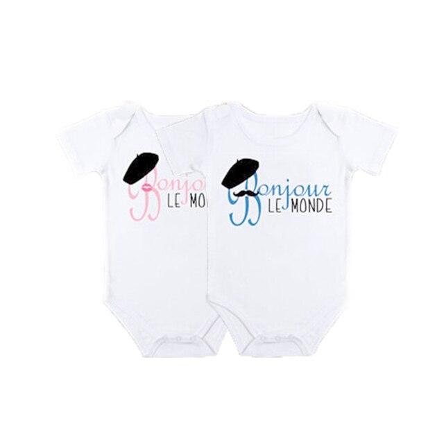Ysculbutol French Bonjour Le Monde Hello World Twins Baby Bodysuit