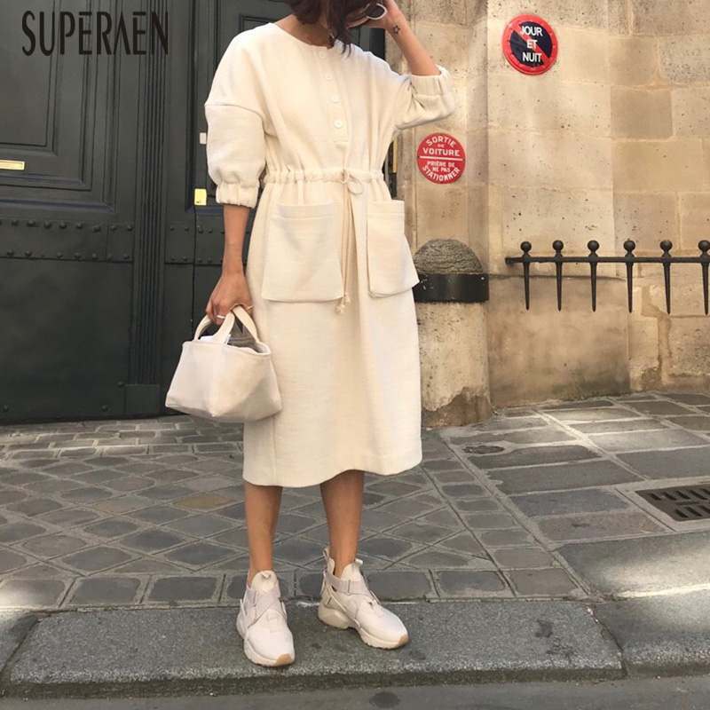 SuperAen Korean Style Fashion Women Dress Solid Color Casual Cotton and Linen Half Sleeve Ladies Dress Loose New Autumn 2018