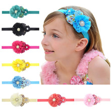 1PC Baby Girls Hats Retail 2017 Baby Headwear Girls Lace Mix 2 Rose Flower Children Headbands Kids Hair Accessories  h36