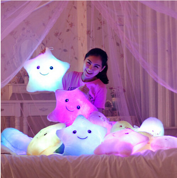 Luminous Juguetes Star Glowing Pillow Shone Toys For Children Led Light Plush Cushion Star Pillow Kids Toys For Girls