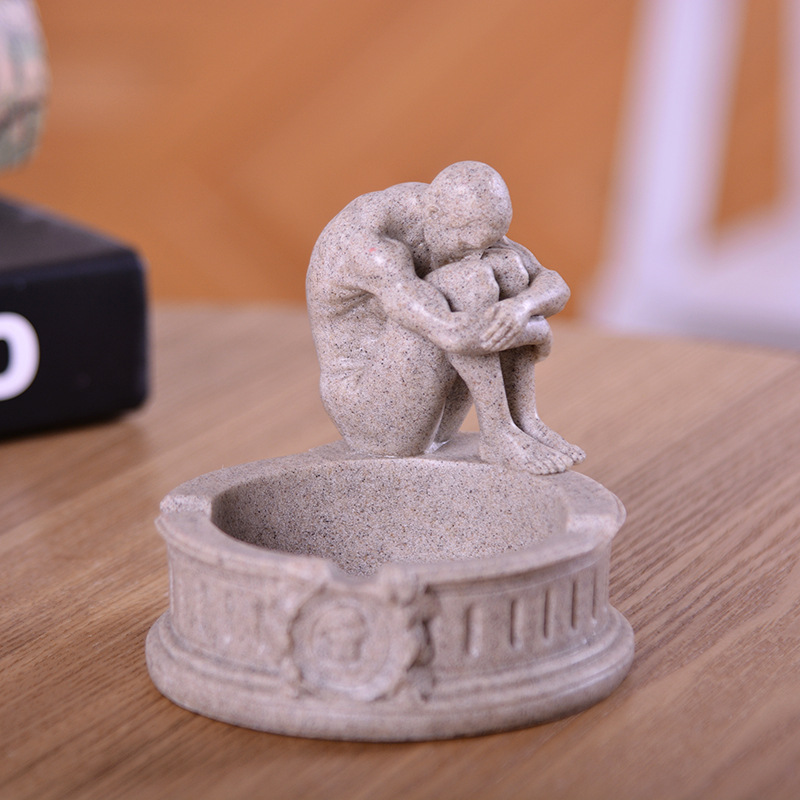 VILEAD 3 9 quot Sandstone David Meditator Venus Ashtray Statue Model Miniatures Creative Figurines Vintage Home Decor Store Gifts in Statues amp Sculptures from Home amp Garden