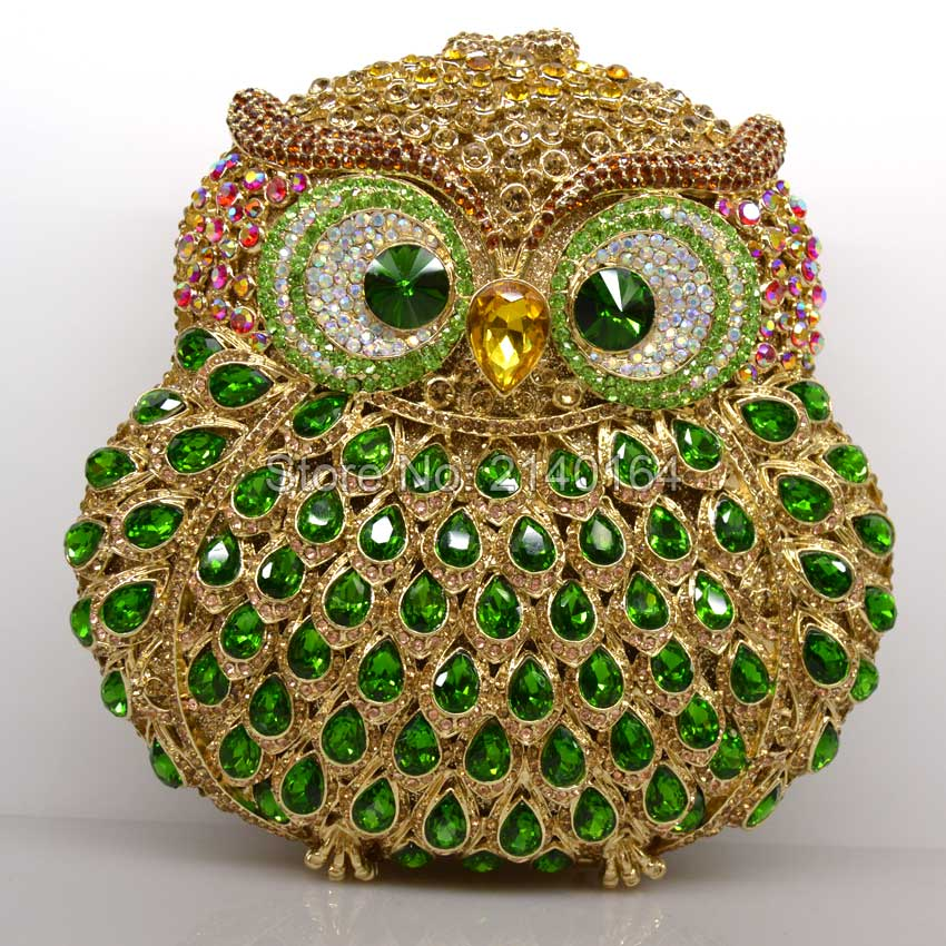 studded jeweled green Owl clutch Wedding Bridal purse Luxury Diamond Evening Bags Lady clutch Women Crystal Party Bags Hot Q07