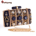 2016 Vintage Women's Beaded Clutch Bag Fashion Retro Gold Chain Wedding Diamond Small Clutch Party Evening Bags Crystal Handabgs