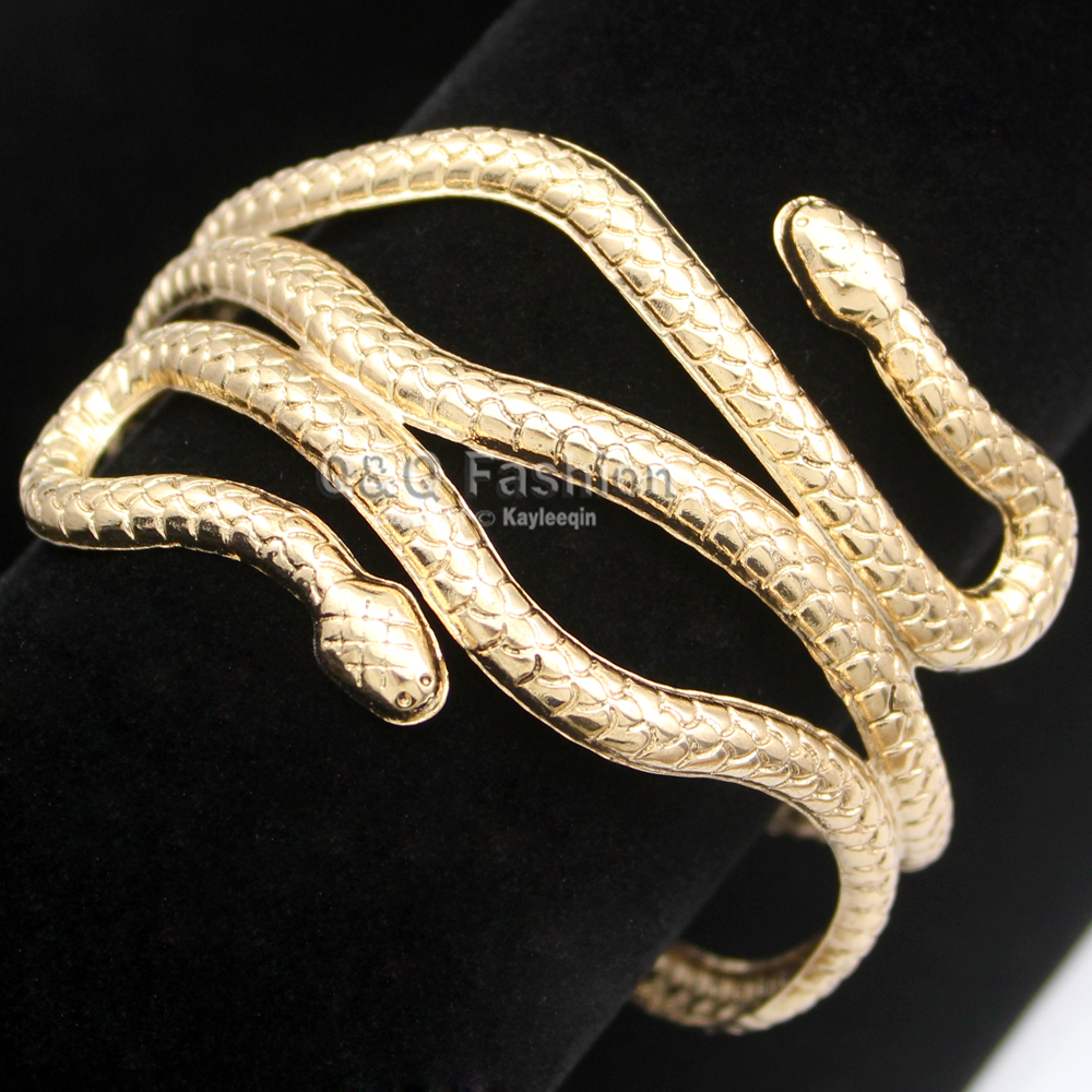 Gold Silver Egypt Cleopatra Swirl Snake Arm Cuff Armlet Armband Big Wide Bangle Bracelet Cuff Indian Jewelry Pulseiras Women Men