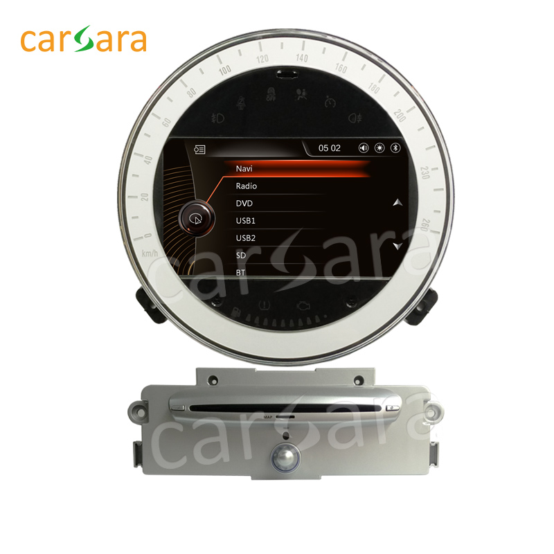 carsara GPS Head Unit Radio Stereo DVD Navigation Car 2 Din Player for Mini Cooper 2007-2011 with silver CD player