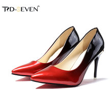 2018 New Sexy High Heel Platform Patent Leather Women Pumps Elegant Lady  Dress Shoes Red Black 8c31785bd0a3