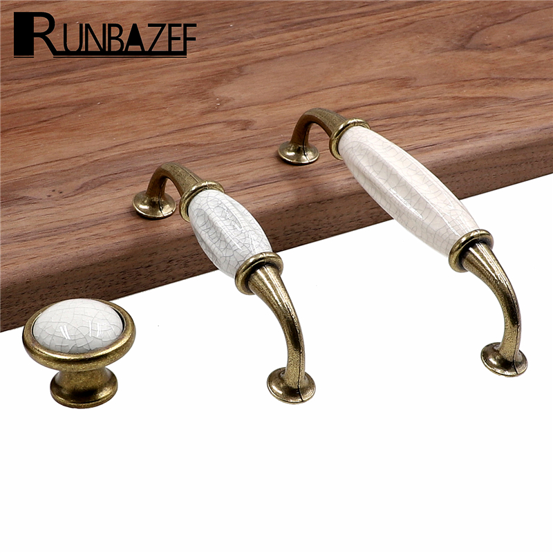 RUNBAZEF European Crack Kitchen Cabinet Accessories Drawer Ceramic Handle Antique Ceramic Handle Furniture Hardware Knob