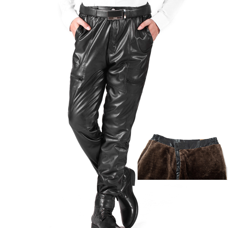 Winter Thick Warm Faux Leather Pants For Men Loose PU Leather Fleece Pants Fashion Motorcycle Joggers Windproof Trousers