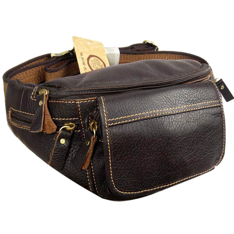 Hot Genuine Leather Male Big Capacity Waist Pack Mobile Phone Bag Real Cowhide Messenger Bags For Men  Man Shoulder Bag