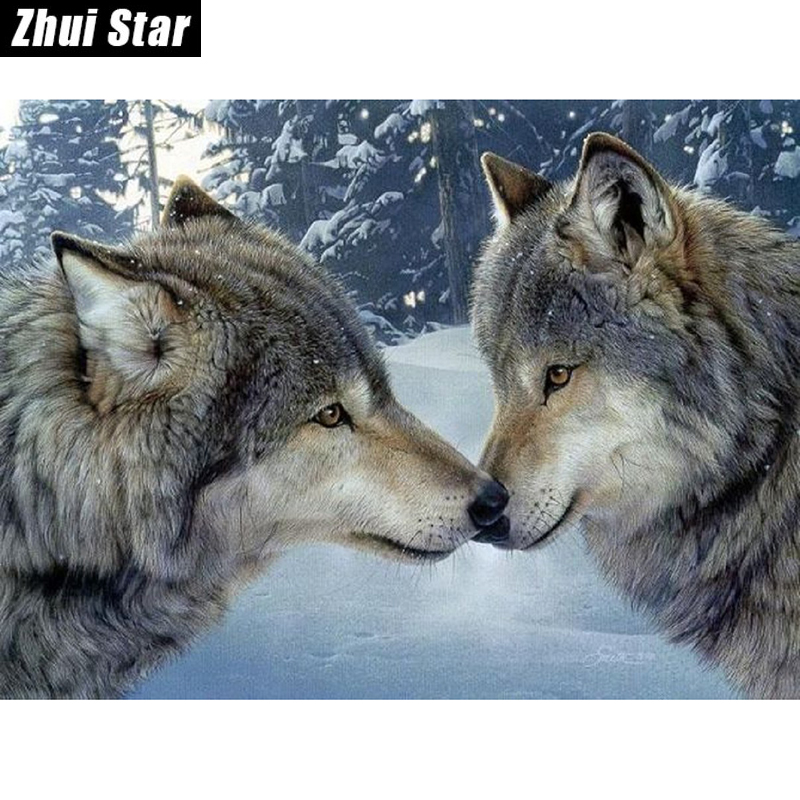 "Ny 5D DIY Diamond Painting ""Lover Wolf"" Broderi Full Square Diamond Cross Stitch Rhinestone Mosaic Painting Heminredning Present"