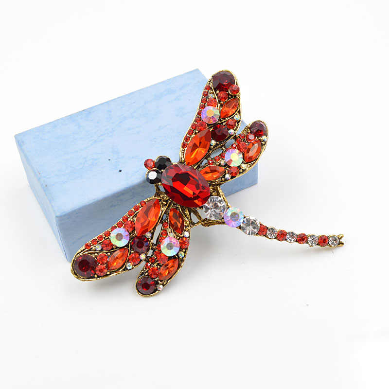 Женские винтажные броши-стрекозы CINDY XIANG, большая булавка с кристаллом в виде насекомого, аксессуары для платья, пальто, бижутерия
