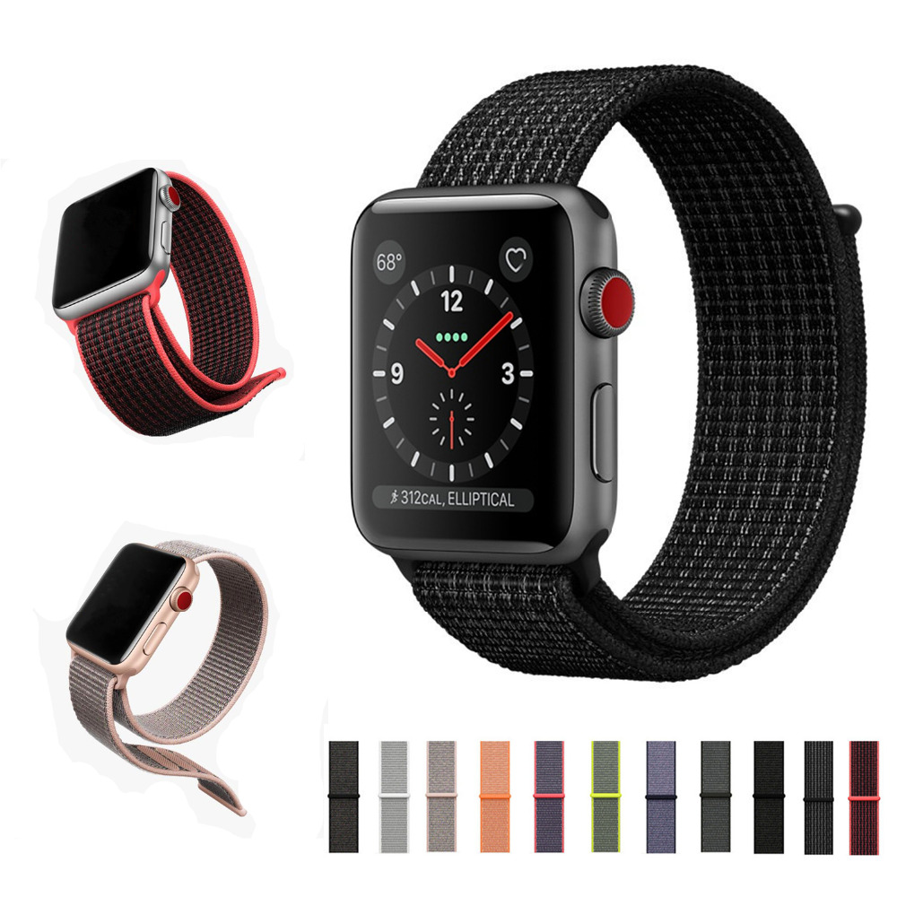 Sport loop for apple watch band strap 42mm 38mm iWatch 3/2/1 band Nylon wrist bracelet watchband+breathable hook-and-loop clasp 6 colors luxury genuine leather watchband for apple watch sport iwatch 38mm 42mm watch wrist strap bracelect replacement