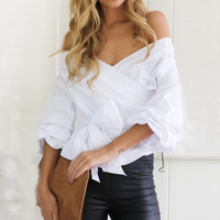 New Fashion 2016 Autumn Sexy Womens Blouse Half Sleeve V Neck Off Shoulder Bow Tie Waist