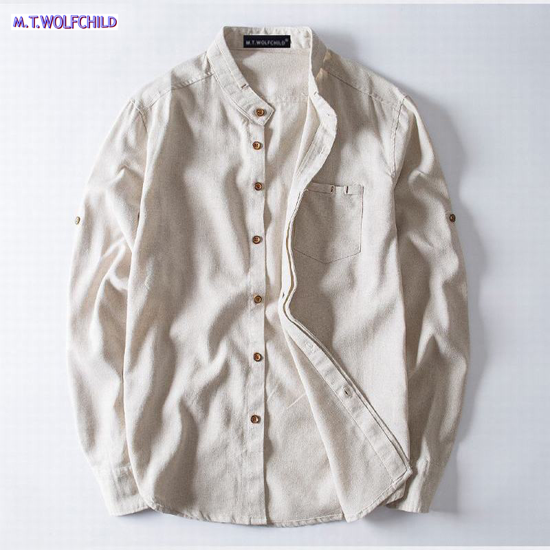 483422aa Men Stand Collar Linen Shirts Long Sleeve Mens Quality Casual Shirts Solid  Dress Shirts with Pocket Male Clothes size 5XL