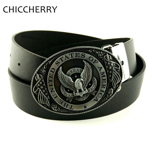 caa88187daf New Fashion Male American Flag Eagle Metal Belts Round Buckle Men  Accessories Men s PU Leather Belts