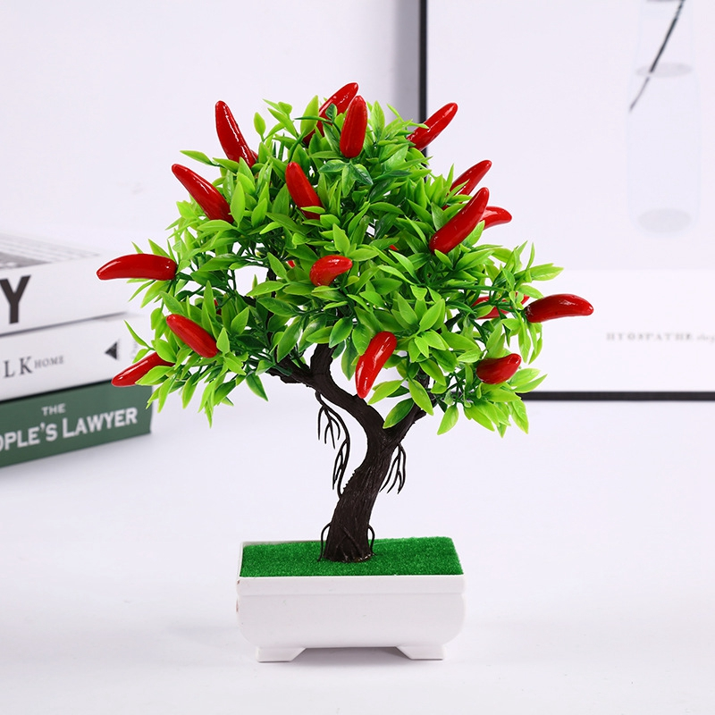 1 Set Artificial Fruit Bonsai Fake Potted Plant Simulation Plant Small Bonsai Plastic Hot Pepper Potted Artificial Flowers