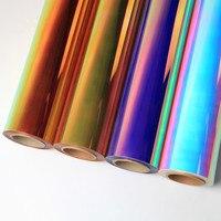 SUNICE Neo Chrome Laser Heat Press Transfer Vinyl Rainbow PU Decorative Supplies For T shirt Clothing 50cm x 900cm