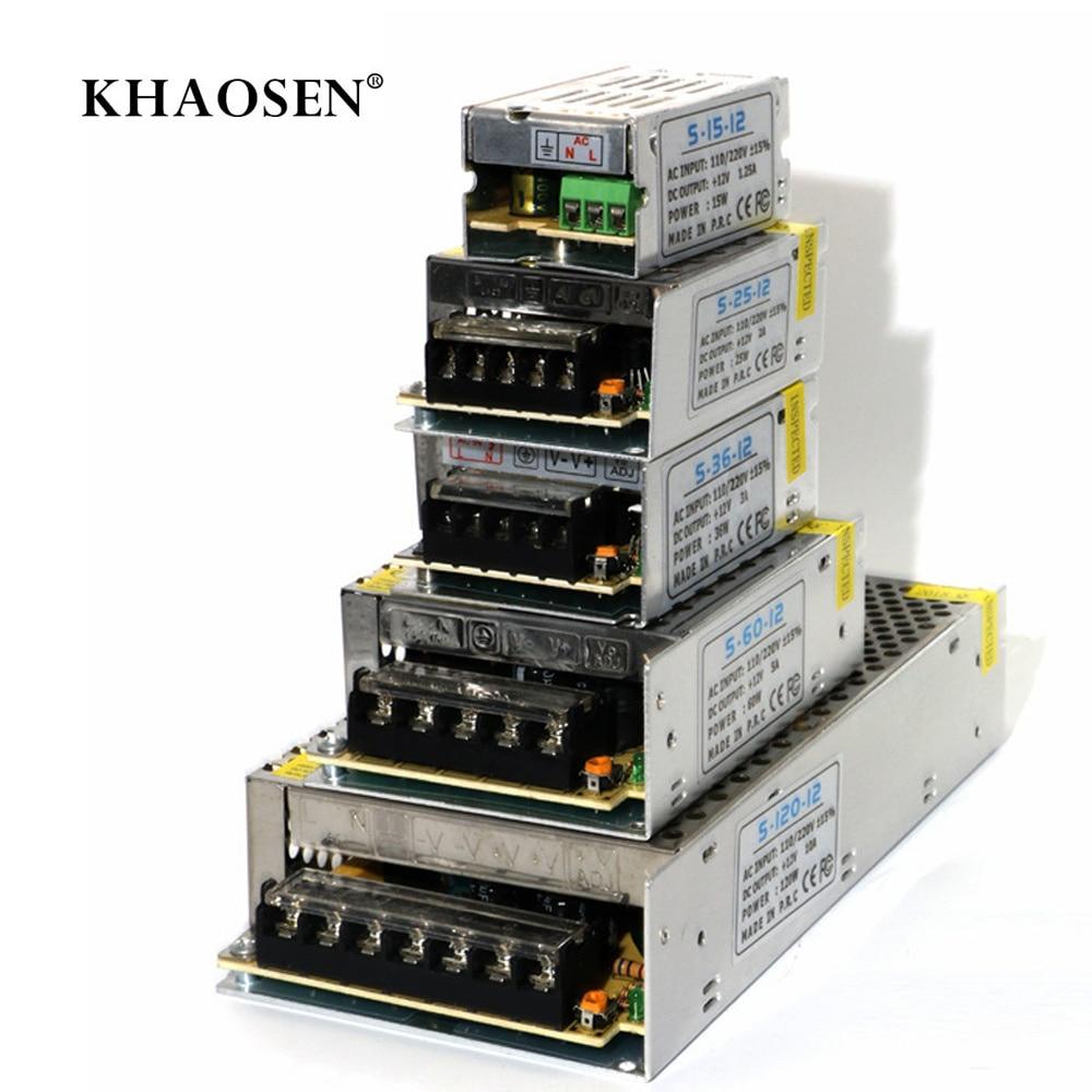 LED Strip Driver Power Adapter Aluminum Metal Material Switch Power Supply Khaosen AC110/220v Input 1A 2A 3A 5A 10A DC12V Output