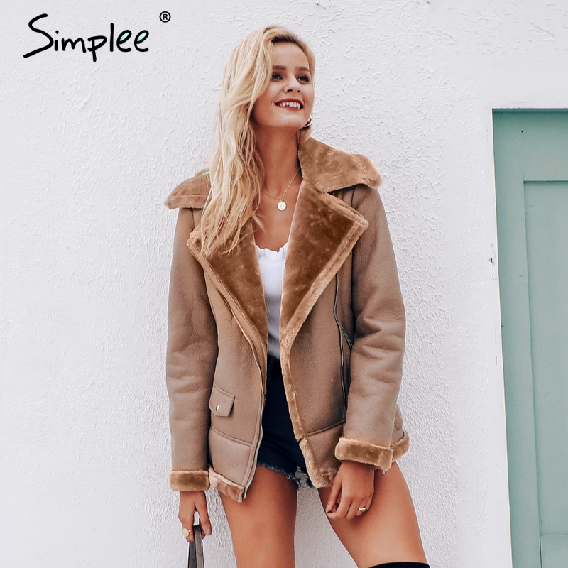 Simplee PU jacket   leather   women plus size Zipper pockets thick 2018 autumn winter coat office ladies outwear streetwear