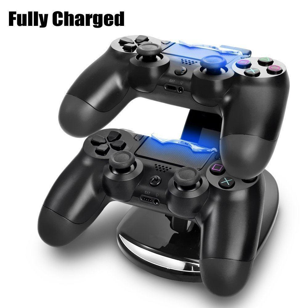 Gasky LED Micro USB Dual Controller Holder Charger Handle Fast Charging Dock Station Stand Charger for PS4 Gamepad Game Console ...