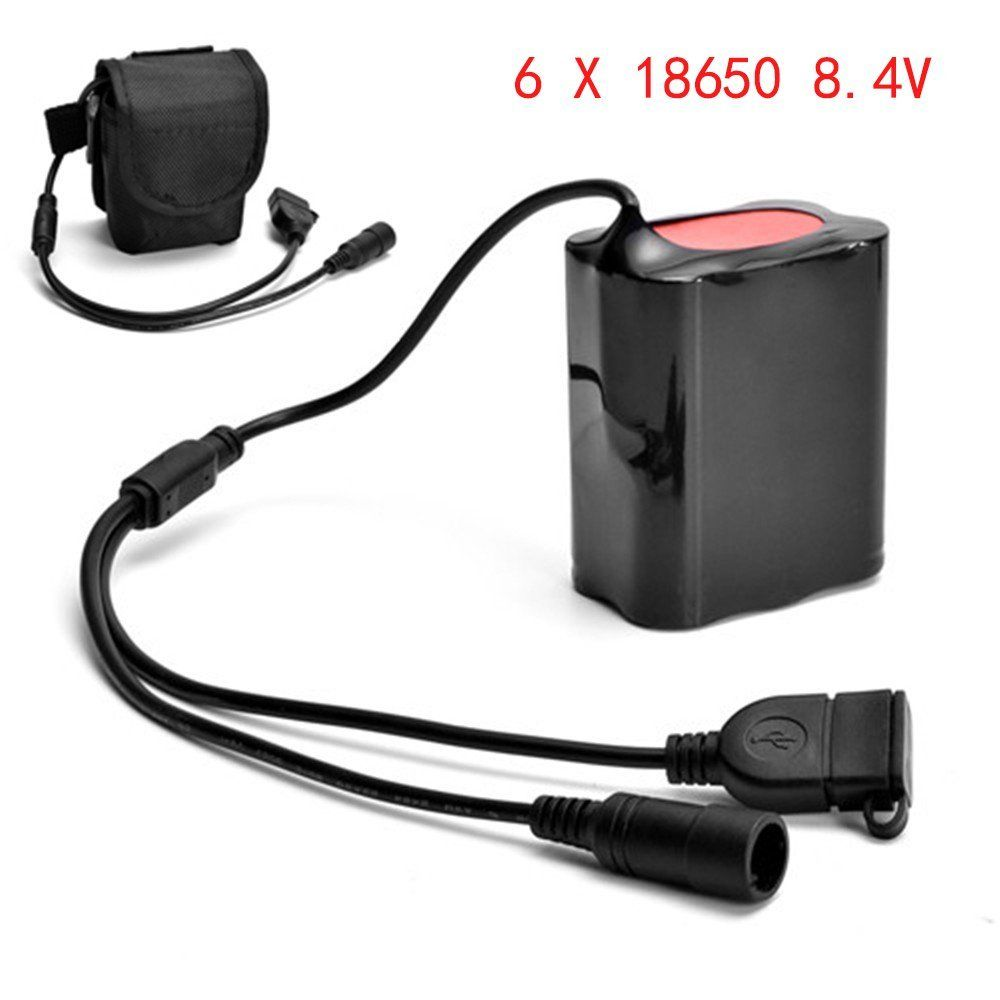 8 4V USB Rechargeable 7800mAh 6X18650 Battery Pack For Bicycle light Bike Torch in Rechargeable Batteries from Consumer Electronics