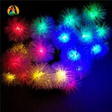 2016 Navidad Luces Solar Fairy LED String Lights Snow Ball Lamps 20LED 4.8M Outdoor Christmas New Year Festival Garden Decor