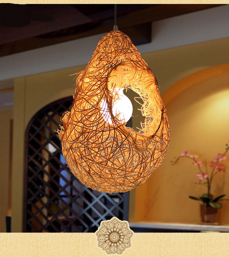 Southeast Asia Pendant Lights rattan retro bird's nest lamp creative personalized restaurant hot pot shop garden lamps LU71473 southeast asia style creative single head wood art retro restaurant pendant light living room decoration lamp free shipping