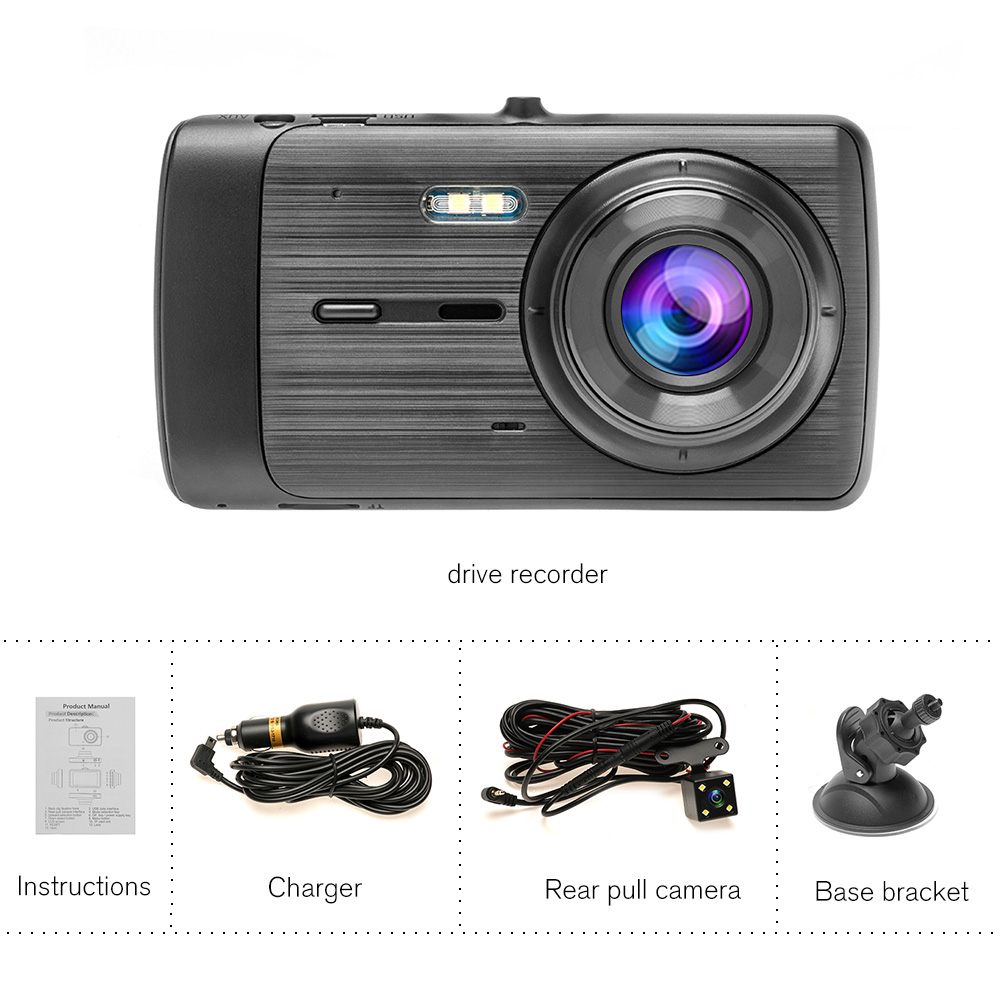 Dual Lens Car Dash Cam DVR driving recorder Camera Car USB monitoring HD 1080P reversing image Car recorder reversing camera usb in DVR Dash Camera from Automobiles Motorcycles