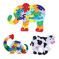 Wooden 3D Jigsaw Educational Toys Animals Elephant Cow Dinosaur Puzzle Wood Toys Kids Numbers Alphabetic Letters Learning Toys