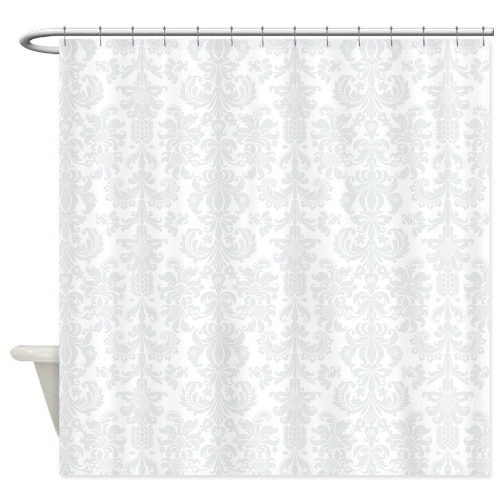 White Light Gray Floral Damasks - Decorative Fabric Shower Curtain (69x70)