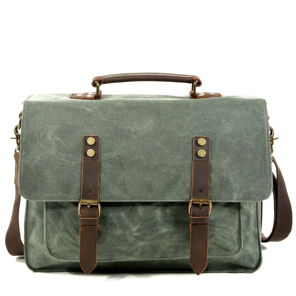 YUPINXUAN Dropshipping Retro Canvas Leather Canvas Leather Handbags for Men 14 Laptop Briefcases Waterproof Vintage Office